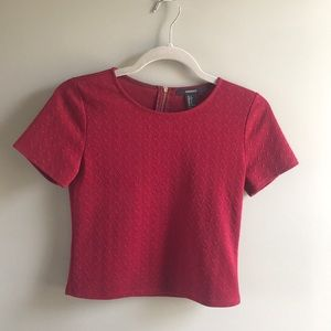 Forever 21 Red/Burgundy Textured Crop Top Size S